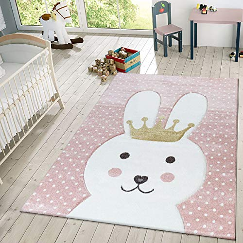 TT Home Kinder Teppich Modern Süßer Hase Mit Krone Punkte Design Spielteppich Rosa Weiß,...
