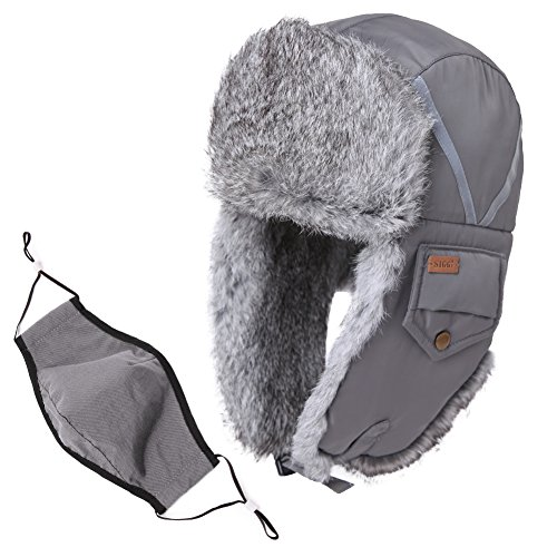 Trapper Hat Rabbit Fur Aviator Hat with Ear Flaps Russian Winter Cold Weather Hat Windproof with Mask Men Women Gray