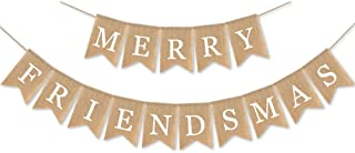 SWYOUN Burlap Merry Friendsmas Banner Christmas Holiday Friends Party Supplies Garland Decoration