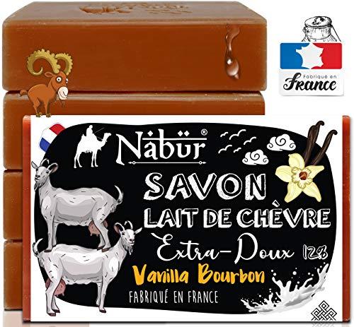 Nabür - 4 jabones frescos de leche de cabra   Fabricado en Francia   Eczema de tipo piel sensible, psoriasis, jabón para el acné, imperfecciones