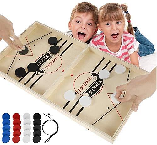 Juego de Mesa de Hockey Juego de Air Hockey para Mesa Juegos de Tablero de Catapulta Fast Sling Puck Hockey de Madera Portatil Juego Adecuado para Niños y Adultos Actividades de Familiar (29*54cm)