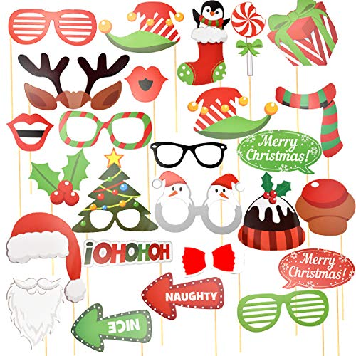 Jinlaili 32 Piezas Navidad Photocall, Accesorios de Cabina de Fotos de Navidad,...