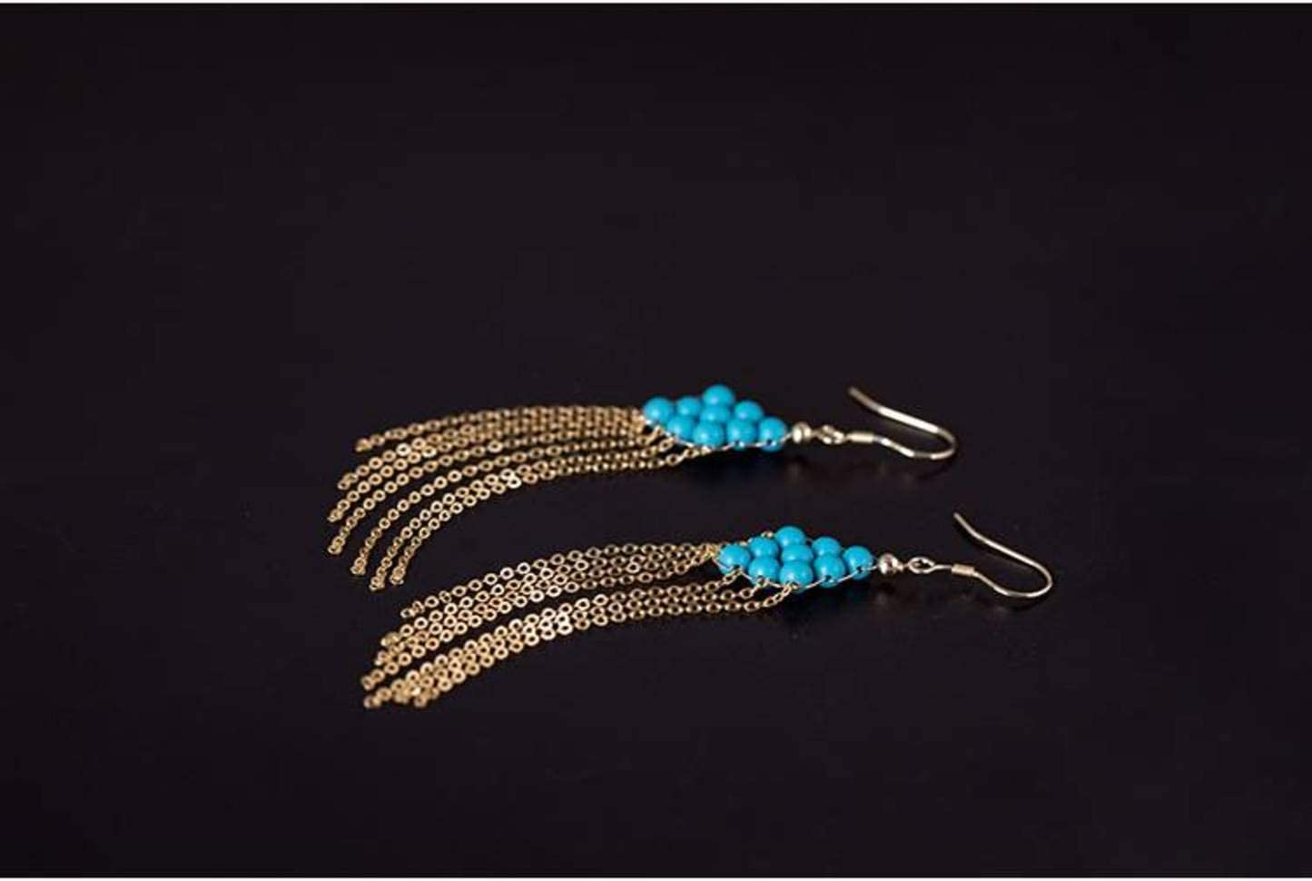925 Silver QiongXi Eardrop Earring Stud Earrings for Women Design Handmade Diys925 Silver Classical Ethnic Style Earrings Temperament Blue Turquoise Tassel Medium Long Ear Hook EarringsAs Shown