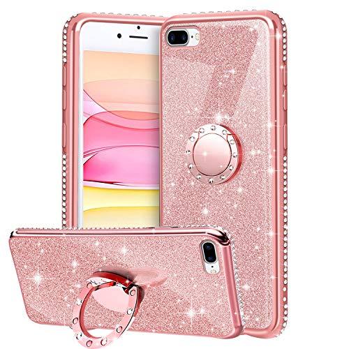Funda para iPhone 7 Plus / iPhone 8 Plus, Glitter Brillante Diamante Carcasa Soporte Magnético de 360 Grados Anillo Giratorio Slim Fit Suave Silicona Gel TPU Anti-Choques Protectora Carcasa - Oro Rosa