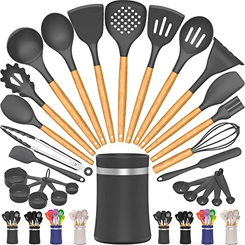 26 Pcs Kitchen Cooking Utensils Set, AIKKIL Silicone Cooking Kitchen Utensils Spatula Set with Holder, Wooden Handle Non-stick Silicone Kitchen Gadgets Utensil Set (Grey)