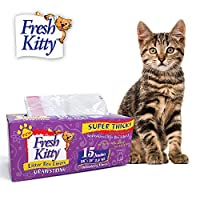 Fresh Kitty Litter Box Liners, 15 Count Super Thick w Drawstring Close by Fresh Kitty