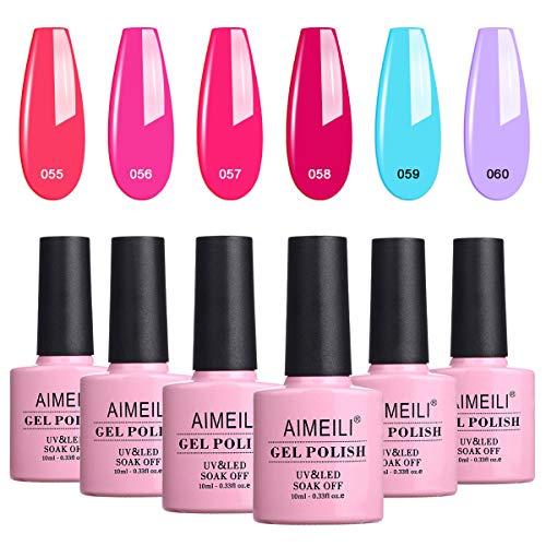 AIMEILI UV LED Gellack mehrfarbig ablösbarer Gel Nagellack Neon Gel Polish Set Kit - 6 x 10ml - Set Nummer 12