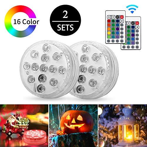 AODOOR Unterwasser Licht, RGB Multi Farbwechsel wasserdichte LED Leuchten für Vase Base Party, Hochzeit, Weihnachten, Schwimmbad, Halloween, Dekoration unterwasserlicht mit fernbedienung - 2 Stück