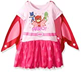PJ Masks Girls' Little Dress W/Tulle and Wing Cape, Pink, 2T
