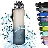 Adoric Sport Trinkflasche, [BPA Frei Tritan] 1L Auslaufsicher Kunststoff Wasserflasche Sport, Sportflasche Fahrrad für Camping Freien, Outdoor, Yoga, Gym (Gradient Gray)