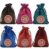 Keemov Navidad yute arpillera bolsas de regalo DIY 24 calendario de Adviento bolsa de tela con cilps y pegatinas a granel bolsas de regalos para fiesta