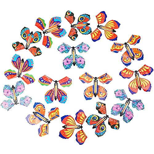 30 Pieces Magic Fairy Flying Butterfly Rubber Band Powered Wind up Butterfly Toy for Surprise Gift or Party Playing