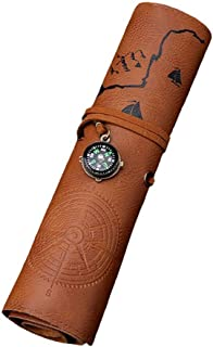 Pencil Roll Case, PU Leather Pen Pouch with Compass for Office Uni College Students and Artists,Brown