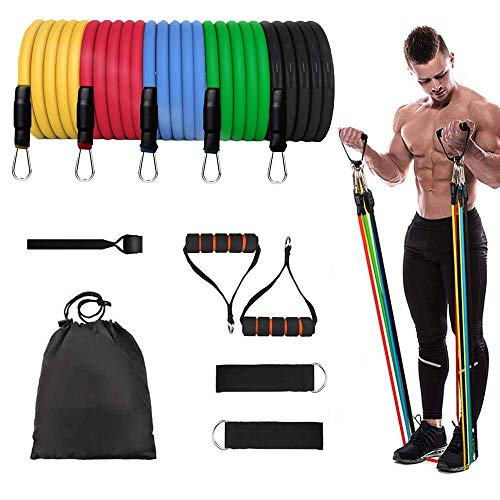 11 Pack Portable Resistance Bands Set with 5 Stackable Exercise Bands(up to 100LBS), for Resistance Training, Home Workouts,Physical Therapy,Gym Training,Yoga
