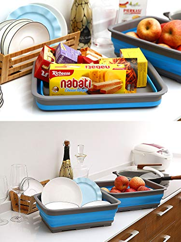 AAKitchen Collapsible Wash Basin Portable Dish Pan Foldable Strainer Wash Dish Pans Folding Drain Dish Tub Drainer over the Sink Dish Drainer Sink Colander for RV, Camping, Marine, BBQ (Dark Blue)