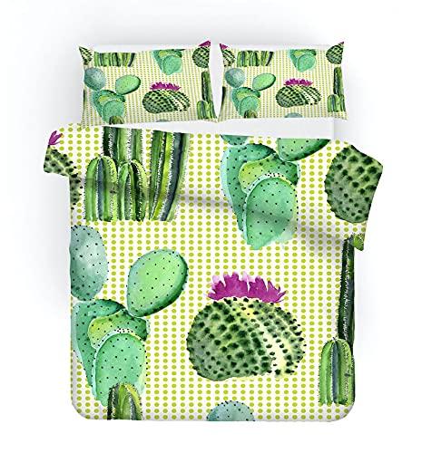 Meimall Juego De Funda De Edredón Fresco Tropical Cactus Planta 150X220 Cm Almohada De Microfibra para Todas Las Estaciones, Cama De Matrimonio, Edredón , con 2 Funda De Almohada
