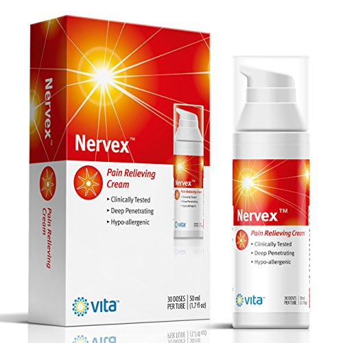 Neuropathy Nerve Pain Relief Cream. Nervex Includes: Arnica, B12, B1, B5, B6, Capsaicin, D3, E, MSM, Witch Hazel. Soothe & Regenerate. Reduce Burning, Tingling, Numbness. Aloe and Coconut Oil Base