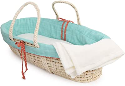 Cotton Tale Designs Scribbles Moses Basket, Turquoise Blue