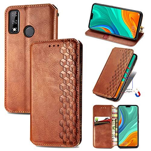 Snow Color Huawei Y8s Hülle, Premium Leder Tasche Flip Wallet Case [Standfunktion] [Kartenfächern] PU-Leder Schutzhülle Brieftasche Handyhülle für Huawei Y8s - COSD020402 Braun