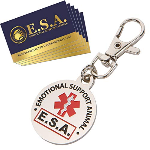 - Official 'Emotional Support Animal' ESA Round Hanging ID Tag - Hang from a Collar, Vest, Harness or Leash. Great Identification for Small and Large Emotional Support Dogs - Includes Five ESA Information Cards