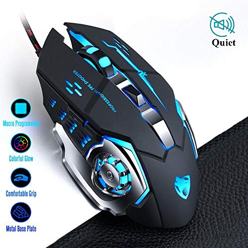 Gamer Gaming Mouse 8D 3200DPI Adjustable Wired Optical LED Computer Mice USB Cable Silent Mouse for laptop PC,V6 Black