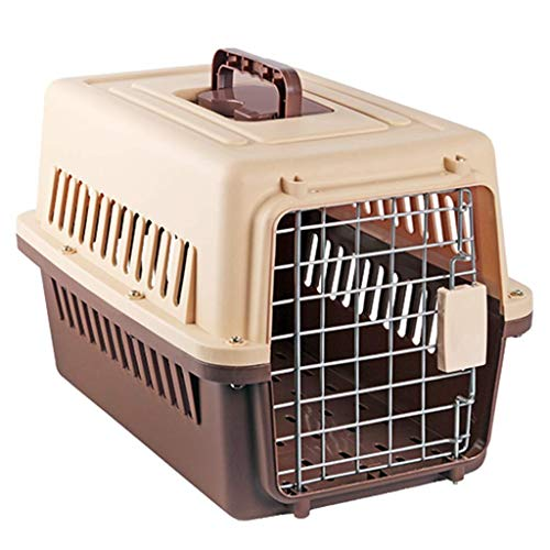 YUIOLIL Haustier Transport Box, Reise Cat Carrier Auto Transport Box Griff Luftfrachtcontainer Metall Türschloss Toilettenfilter Gitter