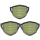 Máscara de borde negro para adultos con patrón ondulado 3 piezas, protección facial portátil, bandana, borde elástico, pasamontañas