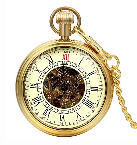 Carrie Hughes Men's Vintage Gold All Copper Open Face Steampunk Skeleton Mechanical Pocket Watch with Chain Best Gifts (CH212G)