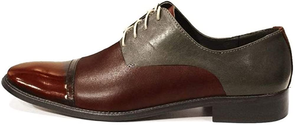Modello Jonerro - Handmade Italian Mens Color Brown Oxfords Dress Shoes - Cowhide Smooth Leather - Lace-Up
