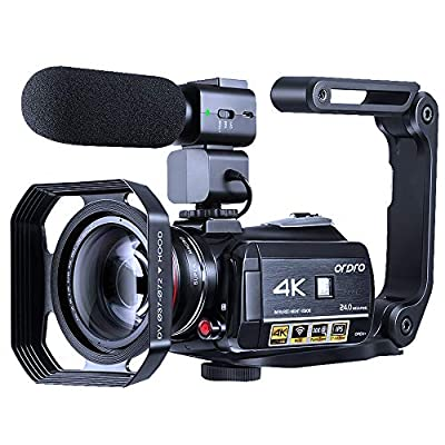 4K Camcorder Vlogging Camera for YouTube ORDRO HDR-AC3 Ultra HD Video Camera 1080P 60FPS IR Night Vision Wi-Fi Camera Recorder Digital Camcorders with Microphone Wide Angle Lens Handheld Stabilizer from ORDRO