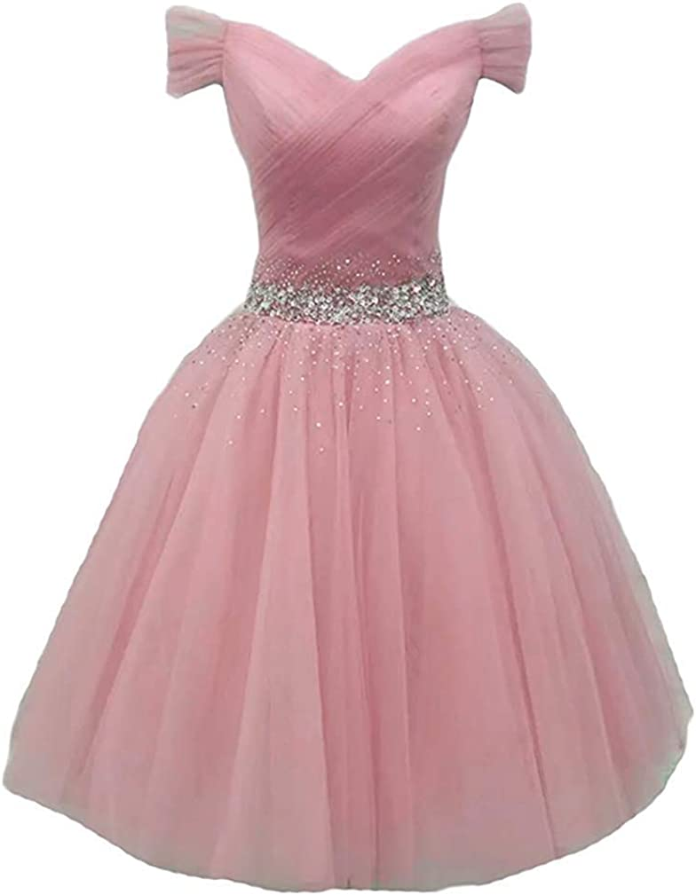 Prom Dress Short Homecoming Dress Tulle Off Shoulder Cocktail Dresses V Neck Formal Gowns with Beading