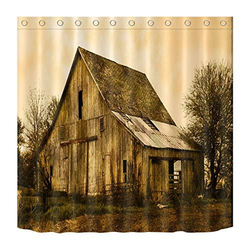 JHTRSJYTJ Sepia alte Scheune Duschvorhang ist geeignet für Badezimmer,Polyester wasserdicht,12Haken,180X200cm,Wohnkultur