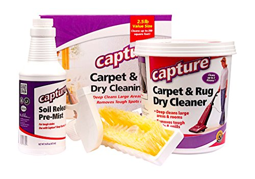 Capture Carpet Dry Cleaning Kit 250 - Deodorize Smell Allergens Stains Moisture from Rug Furniture Clothes and Fabric, Pet Stain Odor Smoke and Allergies Too