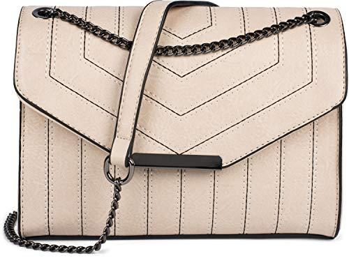styleBREAKER dames schoudertas met siernaden en ketting, schoudertas, handtas, tas 02012308, Farbe:Beige