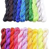 20 Piezas de 1mm de Cordón de Nylon de Seda, Para el Collar Trenzado Pulsera Abalorios Joyería Que Hace el Accesorio, 25 Metros Cada Paquete (20 Colores)(A)