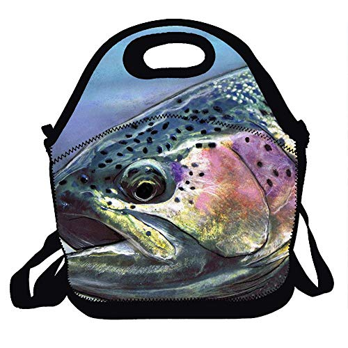 Lunch Bag Neoprene Insulated Cooler Lunch Tote Waterproof and Durable for Kids Picnic School Work Shopping Travel Bag With Zipper, Best Gifts Rainbow Trout