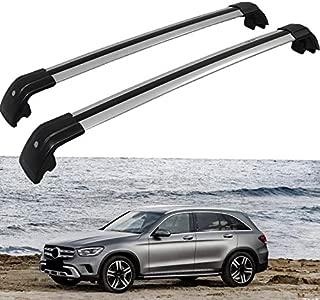 GDMOTOR Lockable Cross Bar Fit for Mercedes Benz GLC 2016-2020 Roof Rack Rail (Silver Mix Black)