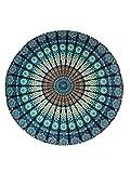 raajsee Indien Strandtuch R& Mandala Hippie/Groß Indisch R&es Baumwolle/Boho R&er Yoga Matte Tuch Meditation/Tischdecke aufhänger Decke Picknick handgefertigt Teppich 70 inch (Blaues Mandala)