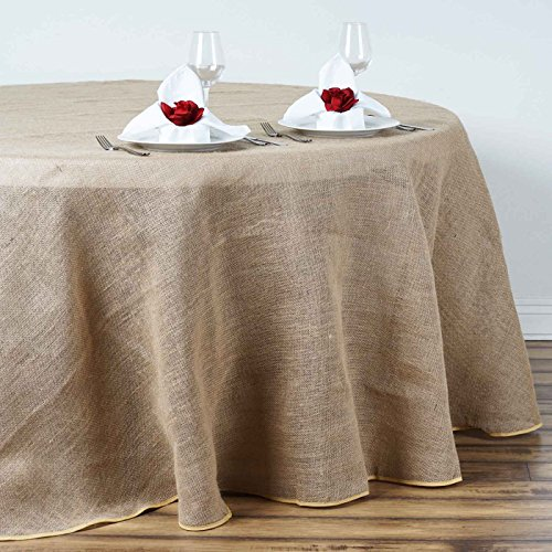 BalsaCircle 90-Inch Natural Brown Burlap Jute Rustic Round Tablecloth Country Chic Wedding Party Dining Room Home Table Linens