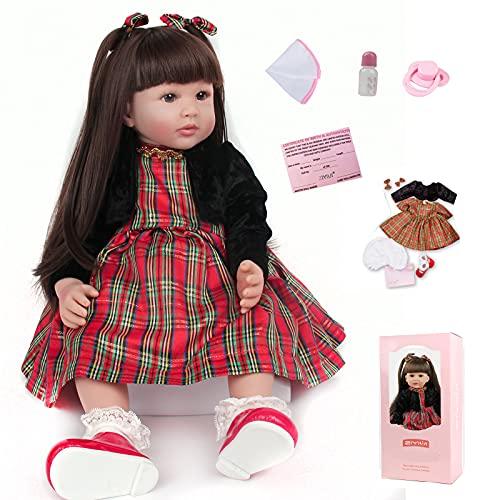 ZIYIUI 24 Pouces 60 cm Reborn Poupée Bébé Silicone Vinyle Reborn Fille Fait Main Réaliste Simulation Baby Dolls Magnétique Bouche Poupées Nouveau-Né Cadeau d'anniversaire Jouets