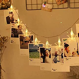 Party Propz 10 LED Star Photo Clip Fairy Lights - 4 FT Long - Home Decoration Valentine Gifts Girlfriend Boyfriend Birthda...