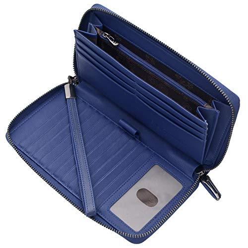 Portmonee Damen mit RFID Schutz Geldbeutel, Portemonnaie, Geldbörse, Brieftasche, Damengeldbeutel, Damengeldbörse lang groß viele fächer Leder Reissverschluss(Navy-Blau)