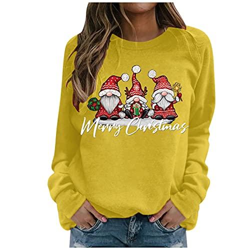 Zilosconcy Sudaderas Mujer Cortos Navidad Rebajas Moda Manga Larga Casual Sudaderas Sin Capucha Cuello Redondo Jersey Camiseta Slim Fit Adolescentes Chicas Blusa Suéter