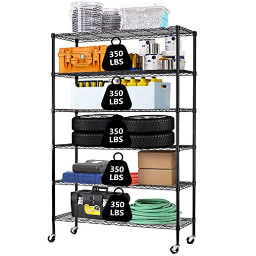 Metal Shelf 6 Tier Wire Shelving Unit with Wheels,Heavy Duty Storage Shelves, NSF Garage Kitchen Organizer,Wire Rack Height Adjustable Utility Commercial Grade Rolling Steel Rack,48' x 18' x 82',Black