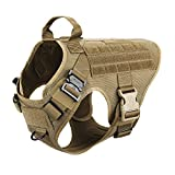 ICEFANG Tactical Dog Harness,K9 Working Dog Vest,No Pull Front Leash Clip D-Ring,Hook Loop