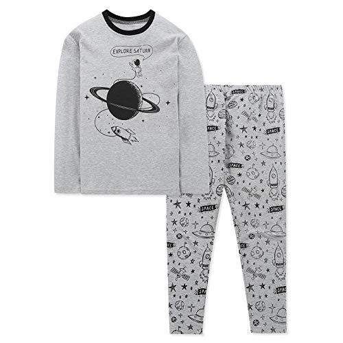 DAUGHTER QUEEN Boys Pyjamas Set Toddler Cotton Nightie Winter Long Sleeve PJs 2 PCS Outfit Gifts for Boys Kids(1-2Y,Space/Grey)