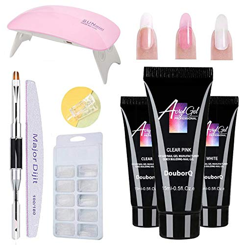 Gel nails kit,Anself 15ml Nail Gel de Construcción Rápida Gel UV Espátula Extensión...