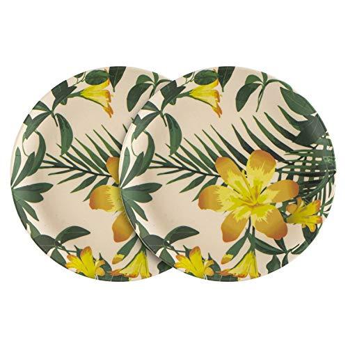Nicola Spring 6 Pieza Placas Ecológico Bambú vajilla - Fibras Naturales de Picnic vajilla Lado la Placa de Postre - 18cm - Tropical