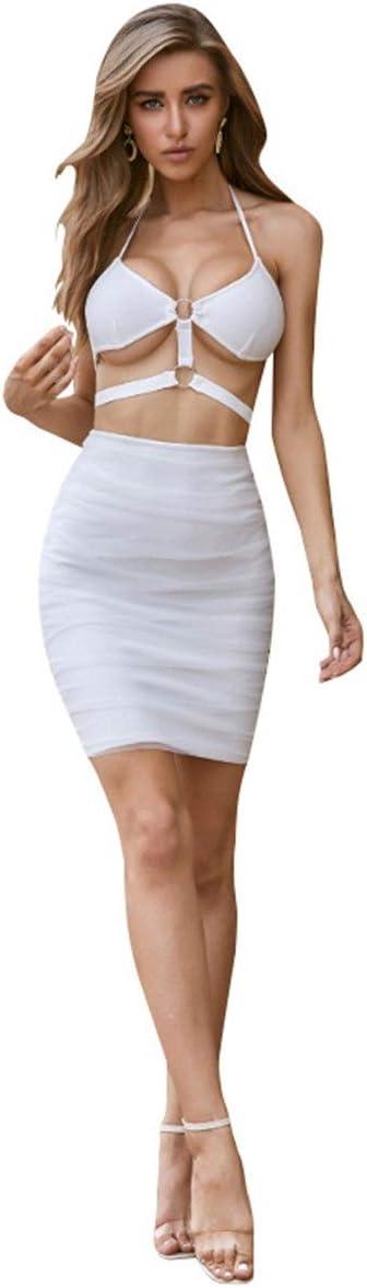 YonCog Ladies Evening Dress Nightclub Sexy Sling Navel Bar Backpack Hip Dress Women's Club & Night Out Dresses (Color : White, Size : Medium)