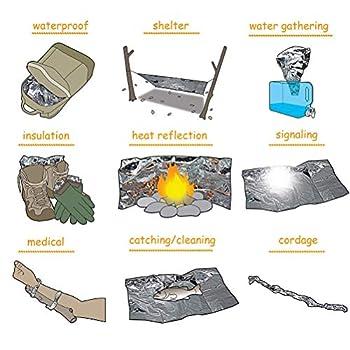 AimdonR Lot de 5 couvertures chauffantes d'urgence - Couverture chauffante de survie - Pour le ski, la randonnée, le camping